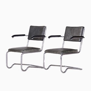 Tubular & Leather Armchairs by Ladislav Žák for Hynek Gottwald, 1930s, Set of 2