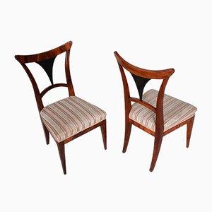 Austrian Biedermeier Walnut Chairs, Set of 2, 1810s