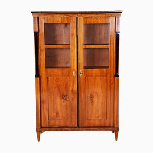 Antique Austrian Biedermeier Walnut Display Bookcase