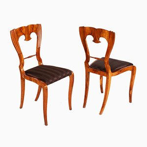 Antique Czech Biedermeier Walnut Chairs, 1840s, Set of 4