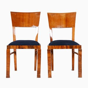 Czech Art Deco Walnut Side Chairs, 1930s, Set of 2