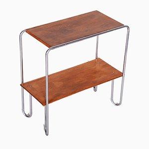 Small Czech Bauhaus Chrome & Oak Side Table by Mücke and Melder, 1930s