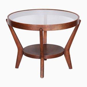 Small Czech Oak & Glass Side Table, 1940s