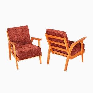 Czech Oak Armchairs, 1950s, Set of 2