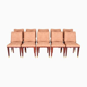 French Art Deco Side Chairs by Jules Leleu, 1920s, Set of 10