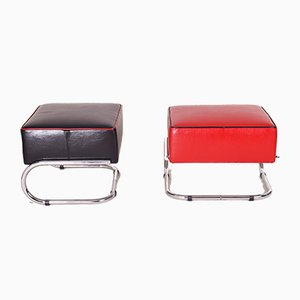 Black and Red Leather and Tubular Steel Footstools, 1930s, Set of 2