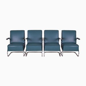 Art Deco Blue Leather and Tubular Steel Cantilever Armchairs, 1930s, Set of 4