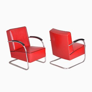 Red Leather and Tubular Steel Cantilever Armchairs, 1930s, Set of 2