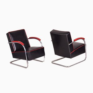 Black Leather and Tubular Steel Cantilever Armchairs, 1930s, Set of 2