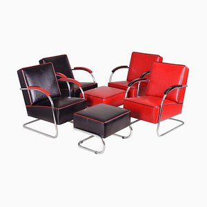 Leather and Tubular Steel Chrome Cantilever Armchairs and Footstools Set, 1930s