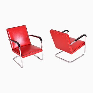 Red Leather Tubular Armchairs by Anton Lorenz for Thonet, 1930s, Set of 2