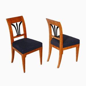 Tschechische Biedermeier Kirschholz Stühle, 1820er, 2er Set