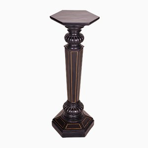 Empire Ebonized Wood and Brass Pedestal