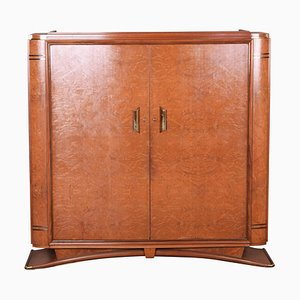 Large Art Deco French Rosewood and Elm Wardrobe, 1920s