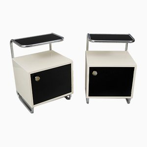 Functionalist Black and White Nightstands from Vichr, 1940s, Set of 2