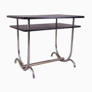 Small Bauhaus German Chrome and Oak Dining Table, 1930s