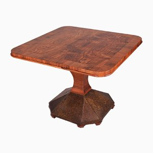 Art Deco Czech Walnut Veneer and Brass Conference Table, 1920s