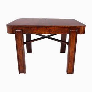 Large Art Deco Czech Walnut Extendable Dining Table, 1930s