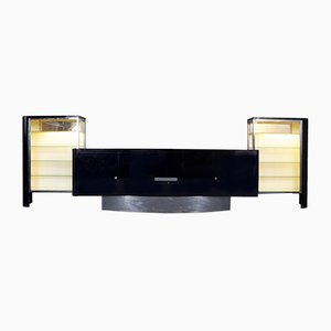 Art Deco Czech Black Chrome Sideboard, 1930s
