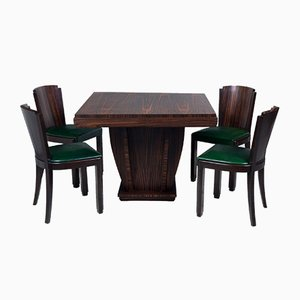 Art Deco French Macassar and Green Leather Chairs, 1930s, Set of 6