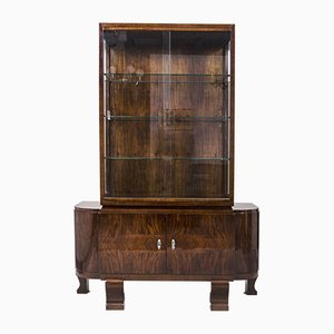 Art Deco French Walnut Display Cabinet, 1920s