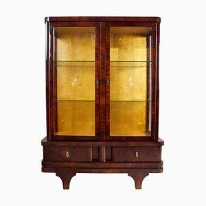 Art Deco Walnut Display Cabinet, 1920s