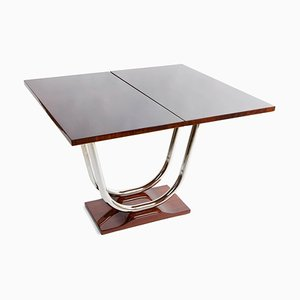 Art Deco Chrome and Rosewood Extendable Side Table, 1920s
