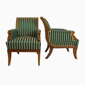 19th Century Biedermeier Green and Gold Walnut Armchairs, Set of 2
