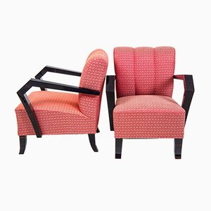 Art Deco Cubist Armchairs, 1920s, Set of 2