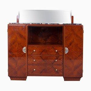 Französisches Art Deco Sideboard mit Marmor Schreibtisch und Spiegel, 1920er