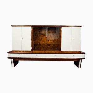 Large Art Deco Walnut Display Cabinet, 1930s
