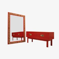 Vintage Danish Dresser and Mirror Set by Poul Norreklit for Select Form Denmark, 1970s