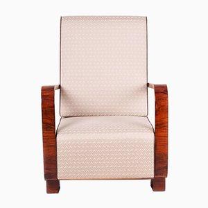Art Deco Walnut Armchair, 1920s