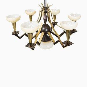 Lámpara de araña estilo cubista antigua de Josef Gočár