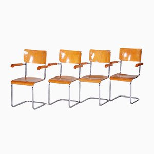 Bauhaus Czech Beech Armchairs from Vichr a Spol, 1930s, Set of 4