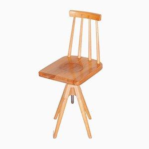 Mid-Century Czech Beech Swivel Chair, 1960s