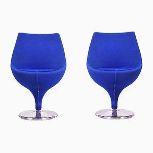 Mid-Century Italian Blue Swivel Armchairs, 1960s, Set of 2