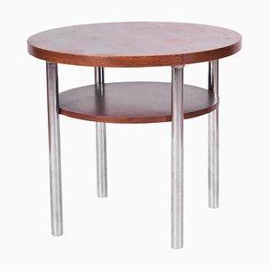Bauhaus Czech Round Oak Side Table by Mücke & Melder, 1930s