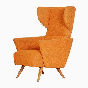 Mid-Century Czech Orange Wing Armchair, 1950s