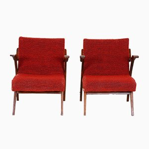 Mid-Century Czech Red Beech Armchairs, 1960s, Set of 2