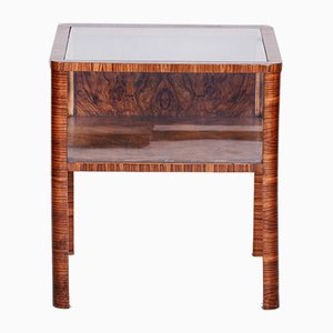 Small Art Deco Czech Walnut and Glass Side Table, 1930s