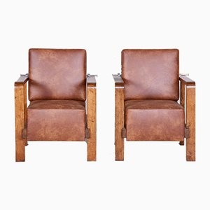 Czech Adjustable Leather and Oak Armchairs, 1930s, Set of 2
