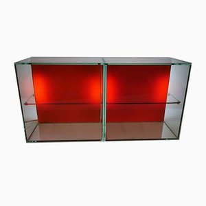 Space Age Glass Cube Shelf Cabinets, 1970s, Set of 2