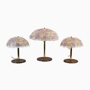 Lámparas de mesa ajustables de cristal de Murano de Barovier & Toso, años 60. Juego de 3