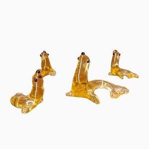 Mundgeblasene Glas Seal Skulpturen von Lauscha, 1960er, 4er Set