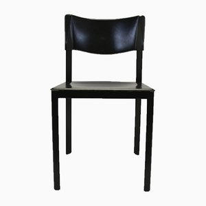 Vintage Italian Black Leather Dining Chairs, Set of 6