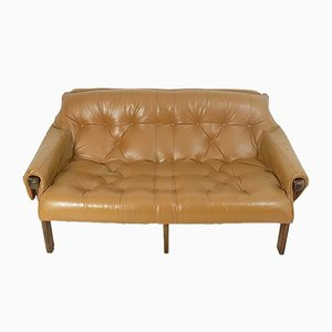 Mid-Century Rosewood and Tufted Leather Sofa by Percival Lafer for Lafer S.A., 1970s