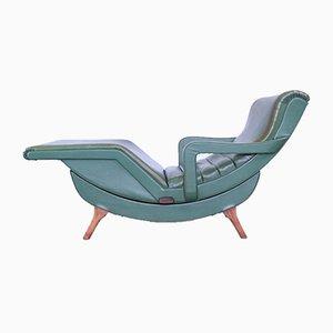 Chaise longue vintage de cuero sintético y madera