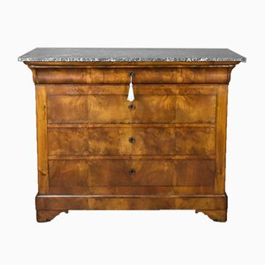 Antique French Burr Elm Commode or Chest of Drawers