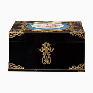 19th Century Lacquered Wooden Box with Sevres Porcelain